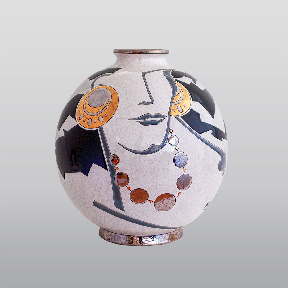 vase boule émaux de Longwy Madélia Paris