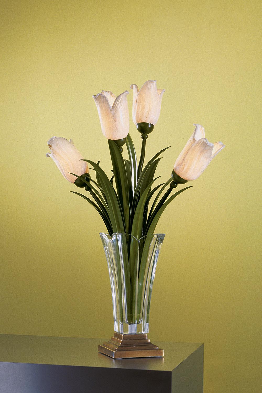 Lampe Vase et Fleurs en verre- Madelia Paris