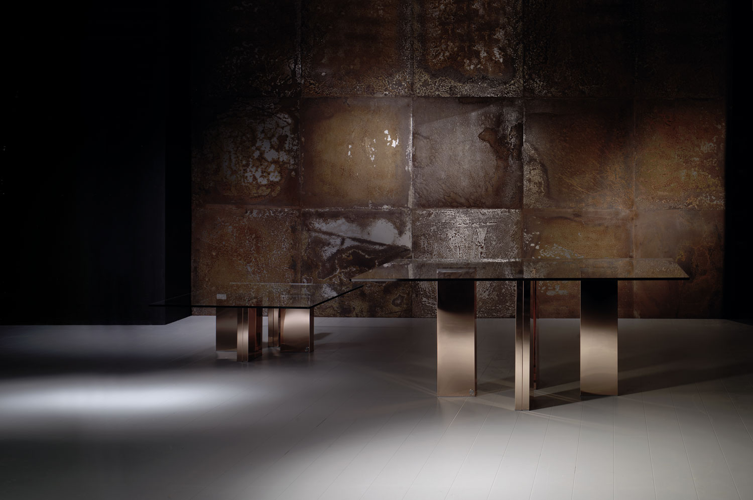Table in glass and metal -luxury furniture - Madelia Paris