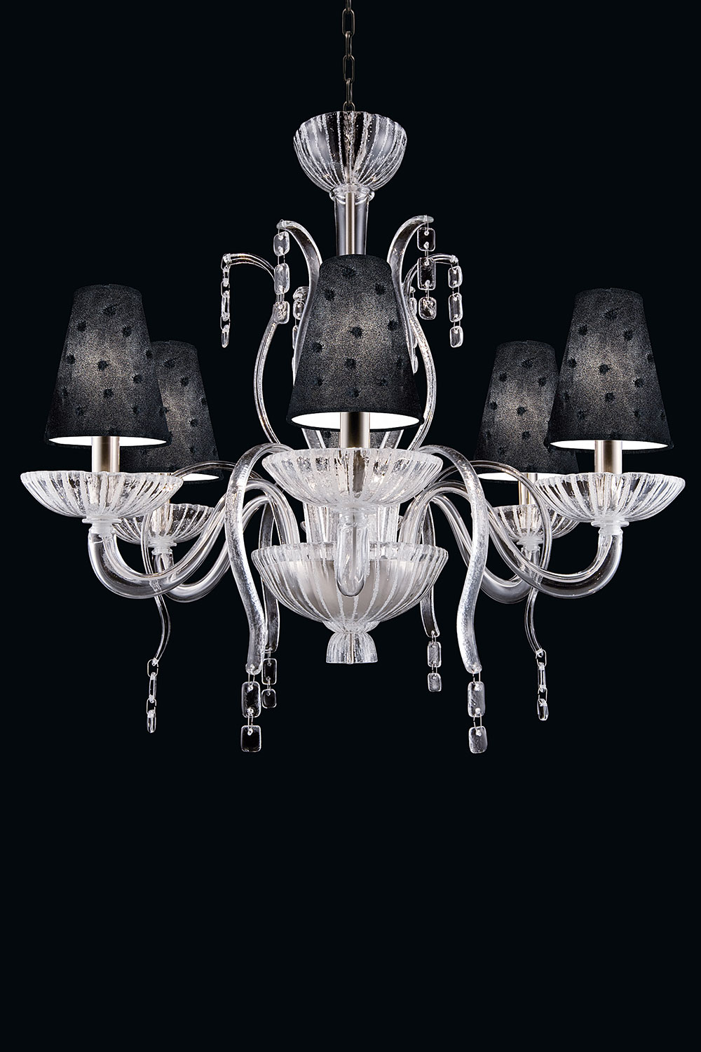 Ducale chandelier in clear and white Murano glass-Luxury lightings - Madelia Paris