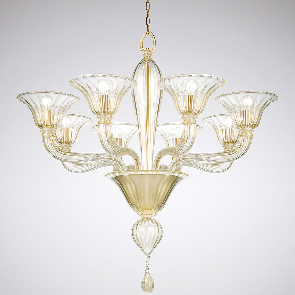 Chandelier in clear Murano glass with a gilded or chrome frame- Luxury furniture Madelia Paris