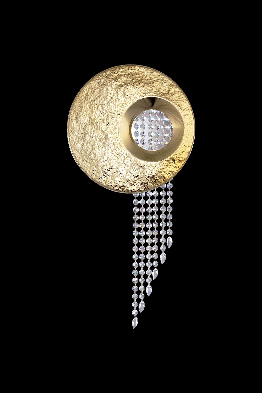 Applique RAVEL en métal doré martelé, pendilles cristal Asfour - Madélia-Paris