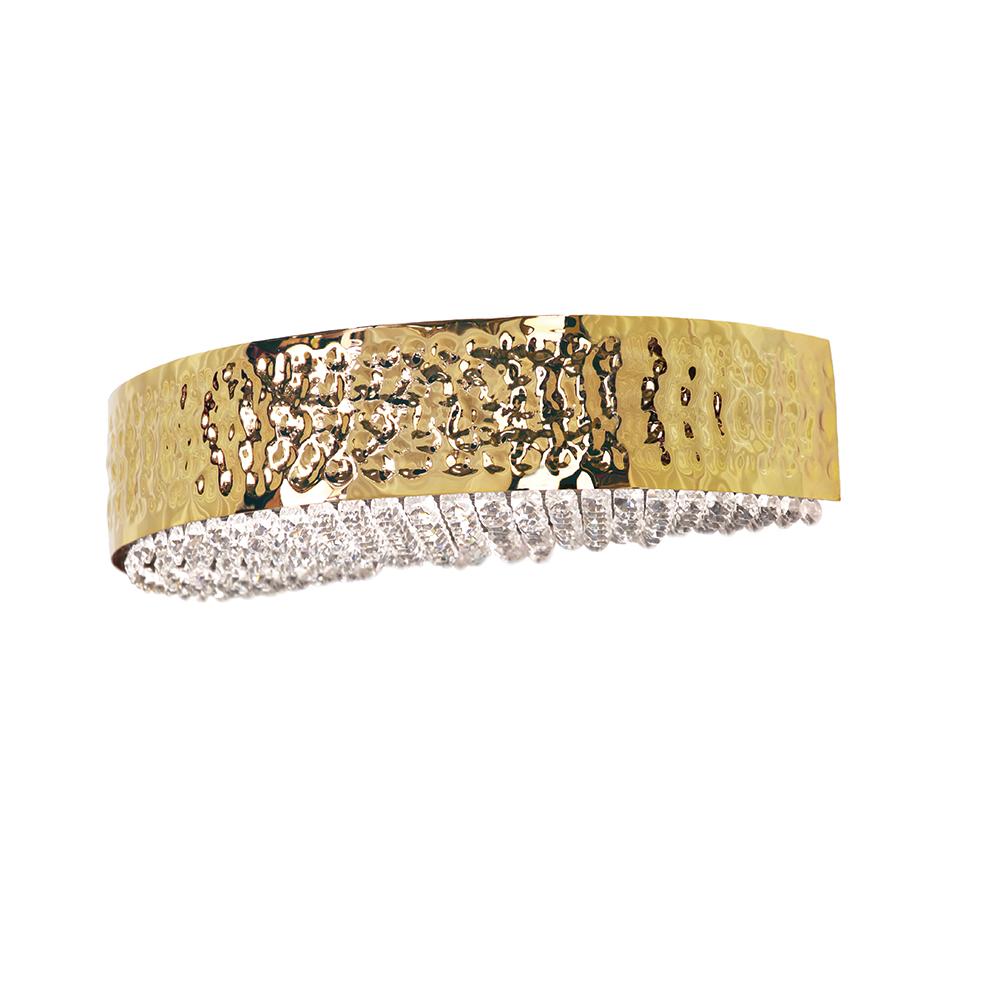 Applique MAEVE en métal doré ou nickel martelé, cristal Asfour. Madélia-Paris