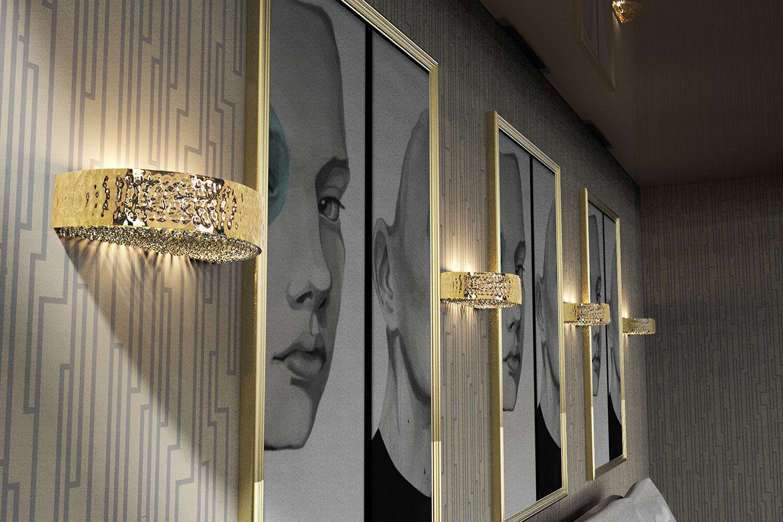 Applique  en métal doré ou nickel martelé, cristal Asfour - magasin de luminaires  Madelia Paris