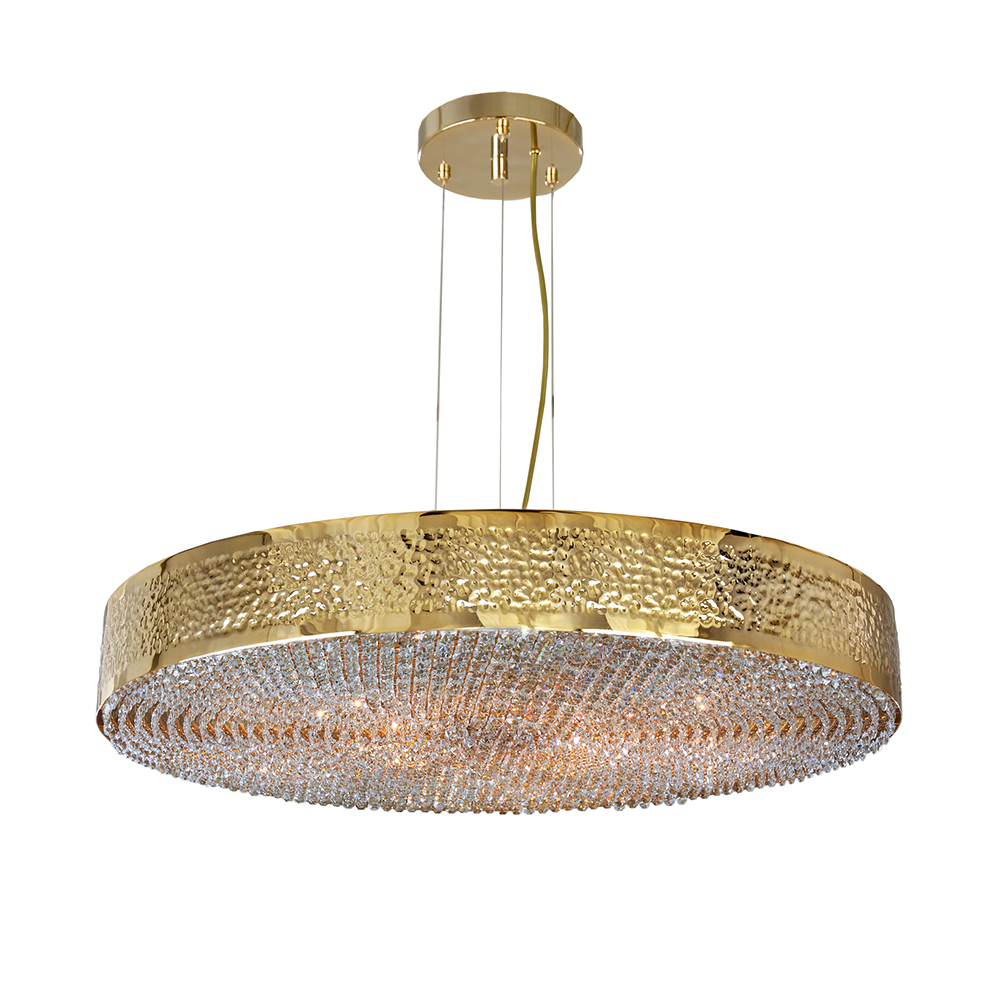 Maeve pendant light, adjustable height, hammered gold metal edge with hanging crystals, Luxury lighting - Madelia Paris