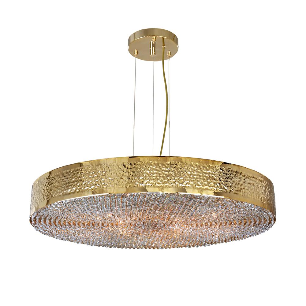 Suspension Maeve. Hauteur réglable, cintre métal doré martelé, pampille en cristal Asfour - Madelia Paris