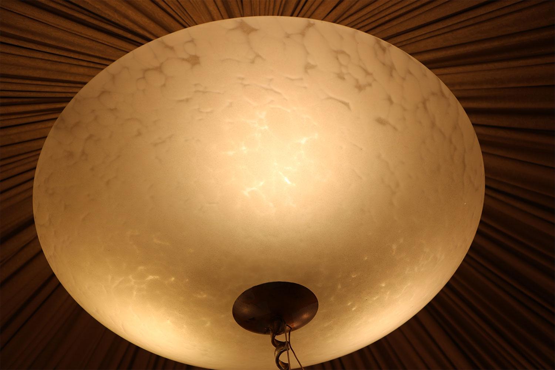 Lustre en métal doré ou argenté coupelle en verre de MURANO