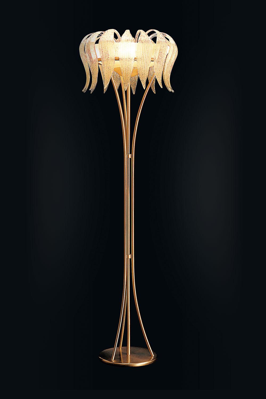 Lampadaire Madélia-Paris Luminaire de luxe Cristal de Murano et doré