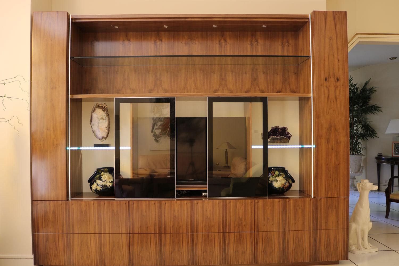 Bibliotheque-meuble TV en noyer-de-luxe-madelia-Paris