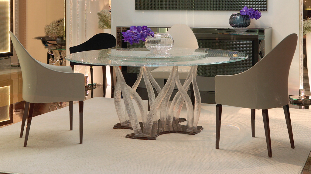 Round Dining table in Murano Crystal Glass-Madélia luxury furniture Paris