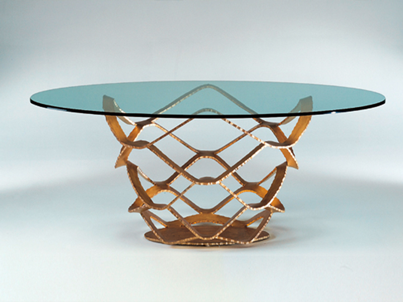 fabulous dining table in murano glass and golded base- Madelia luxury store Paris NEO 72