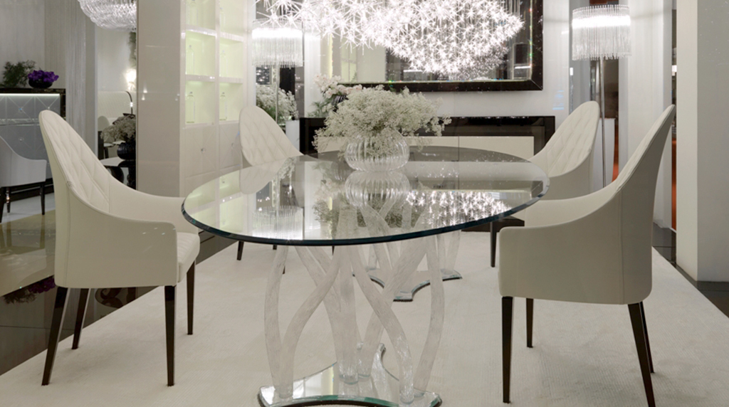 Dining table Flambe all in Murano Crystal Glass-Madélia luxury furniture Paris