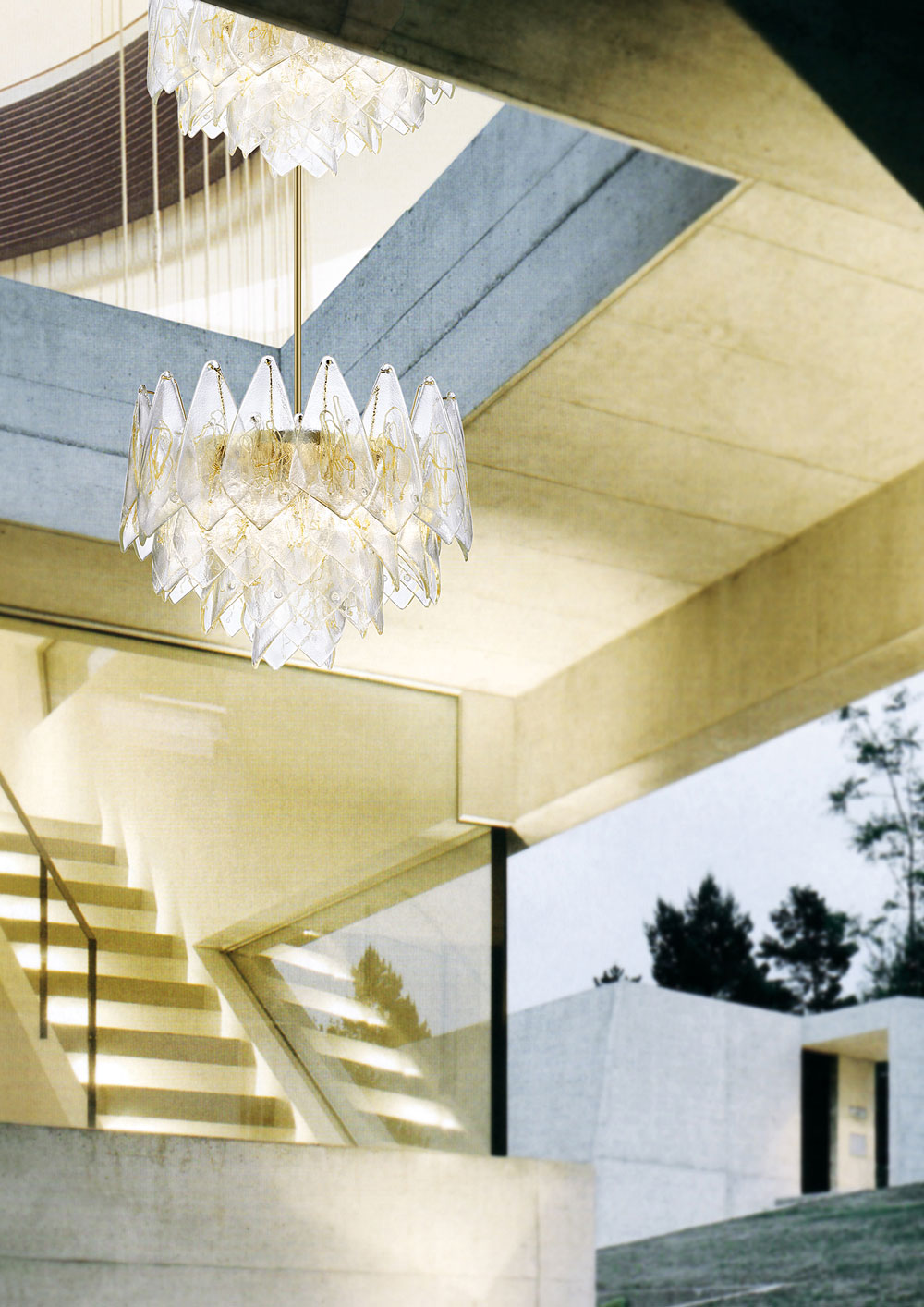 Composable pendant chandelier in clear Murano glass and gilding- Luxury lighting  Madelia Paris