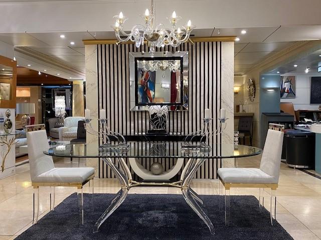 table salle à manger transparente Madelia- Mobilier de luxe Paris -